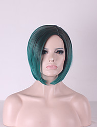 cheap -Synthetic Wig Straight kinky Straight kinky straight Straight Bob Wig Short Rainbow Synthetic Hair Women's Natural Hairline Green