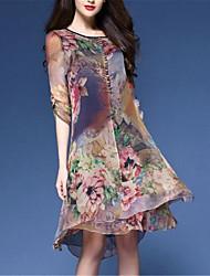 cheap -Women's Floral Plus Size Daily Weekend Chinoiserie Loose Chiffon Dress - Floral Print Spring Dark Blue XXXL XXXXL XXXXXL