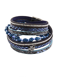 cheap -Women's Wrap Bracelet Leather Bracelet Ladies Luxury Vintage Bohemian Punk Leather Bracelet Jewelry Blue For Christmas Gifts Party Daily Casual Sports / Imitation Diamond / Rhinestone