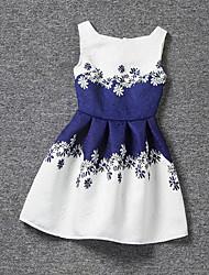 cheap -Kids Girls' Floral Print Sleeveless Dress White