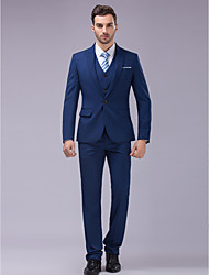cheap -Blue Slim Fit Suit - Slim Peak Single Breasted One-button / Suits