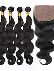 cheap -Peruvian Hair Body Wave Virgin Human Hair Hair Weft with Closure Human Hair Weaves Human Hair Extensions