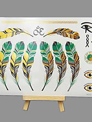 cheap -NEW Hot Stamping Fashion Safe Non-Toxic Large Size Hawaiian Colours Feather Waterproof Tattoo Stickers