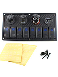 voordelige -iztor8p blauwe plastic paneel lampen 5p on-off tuimelschakelaar + stopcontact + usb autolader + voltmeter