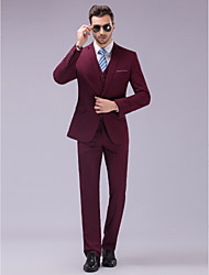 cheap -Burgundy Slim Fit Suit - Slim Notch Single Breasted One-button / Suits