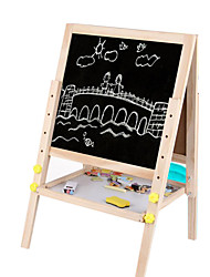 cheap -Wooden Double Elevating Magnetic Drawing Board, 2.9 KG Adjustable Height, Children Drawing Board