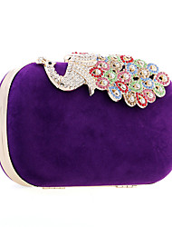 cheap -Women's Bags PU Leather Suede Evening Bag Crystal / Rhinestone Wedding Party Event / Party Wedding Bags Black Purple Red Fuchsia