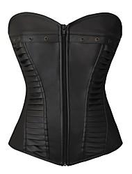 cheap -Women's Zipper Overbust Corset - Solid Colored Black S M L