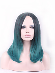 cheap -Synthetic Wig Straight kinky Straight kinky straight Straight Bob Wig Medium Length Green Synthetic Hair Women's Natural Hairline Blue
