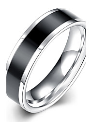 Недорогие -Муж. Кольцо Черный Нержавеющая сталь Титановая сталь Вольфрамовая сталь европейский Мода Элегантный стиль Свадьба Для вечеринок Бижутерия Двухцветные