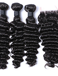 cheap -Brazilian Deep Wave With Closure 3Bundles With Closure Brazilian Deep Curly Virgin Hair Weft Weaves With Closure