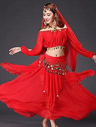 cheap -Belly Dance Outfits Women's Performance Chiffon Sequin / Gold Coin Long Sleeve Dropped Top / Skirt / Belt
