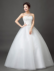 cheap -Ball Gown Sweetheart Neckline Floor Length Satin / Tulle / Beaded Lace Strapless Open Back Made-To-Measure Wedding Dresses with Beading / Sash / Ribbon 2020