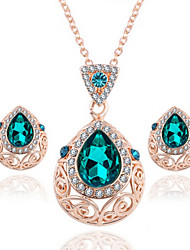 cheap -Women's Crystal Jewelry Set Necklace / Earrings Vintage Party Work Casual Fashion Crystal Rhinestone Earrings Jewelry Green For Wedding Party Daily Casual