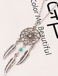 cheap -Women's Pendant Necklace Long Necklace Feather Dream Catcher Vintage European Fashion Native American Alloy Silver Necklace Jewelry For Party Casual Work