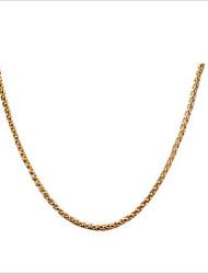 Недорогие -Жен. Ожерелья-бархатки Ожерелья-цепочки Цепь Foxtail На заказ Мода Позолота 18К Титановая сталь Позолота Золотой Ожерелье Бижутерия Назначение Повседневные