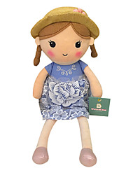 cheap -Genuine Spring Girl Doll Plush Toy Doll Baby Doll To Appease Doll Gift Girls Hat Blue Dress Sitting Height 25Cm