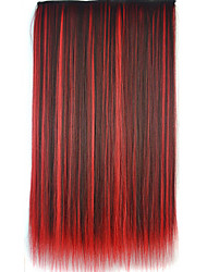 cheap -26 inch clip in synthetic multi color straight hair extensions with 5 clips