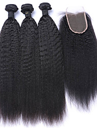cheap -4pcs lot mongolian virgin hair kinky straight lace closure with coarse italian yaki weft with closure human hair weaves