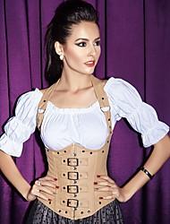 cheap -Women's Lace Up Underbust Corset / Overbust Corset / Plus Size - Solid Colored Black Brown White S M L