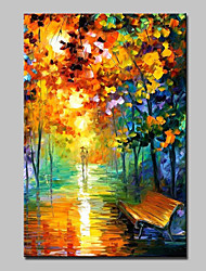 cheap -Oil Painting Hand Painted - Abstract Landscape Modern With Stretched Frame