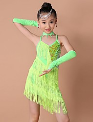 cheap -Latin Dance Dresses Performance Polyester / Spandex Sequin / Tassel Sleeveless High Dress / Gloves / Neckwear