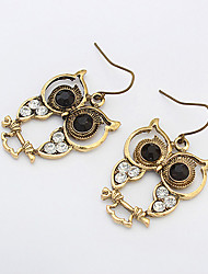 cheap -Women's Drop Earrings Owl Animal Ladies Vintage European Fashion Rhinestone Earrings Jewelry Bronze For Party Daily Casual Work