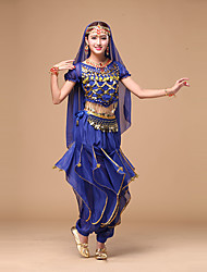 cheap -Belly Dance Outfits Women's Performance Chiffon Sequin Short Sleeves Natural Top