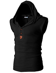cheap -Men's Tank Top Shirt Graphic Solid Colored Basic Sleeveless Daily Slim Tops Active Hooded Red Army Green Navy Blue / Sports / Summer