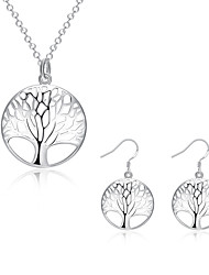 cheap -Women's Cubic Zirconia Jewelry Set Tree of Life life Tree Ladies Cubic Zirconia Silver Plated Earrings Jewelry Silver For Party Daily