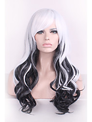 cheap -black white harajuku ombre wig pelucas pelo curly natural heat resistant anime cosplay erruque synthetic wigs women hair style Halloween