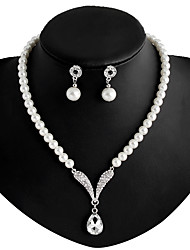 cheap -Women's Pearl Necklace / Earrings Long Ladies Imitation Pearl Silver Plated Earrings Jewelry White For Wedding Party Daily Masquerade Engagement Party Prom