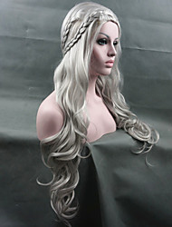 cheap -Synthetic Wig Cosplay Wig Wavy Kardashian Wavy Pixie Cut Wig Long Light Blonde White Silver Synthetic Hair Women's Braided Wig White StrongBeauty