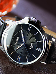cheap -YAZOLE Men's Wrist Watch Quartz Leather Black / Brown Noctilucent Casual Watch Analog Charm Classic Dress Watch Simple watch - Black Brown One Year Battery Life / SSUO 377