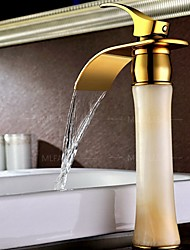 cheap -Waterfall Bathroom Sink Faucet - Waterfall / Widespread Ti-PVD Centerset Single Handle One HoleBath Taps / Brass