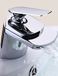 cheap -Bathroom Sink Faucet - Waterfall Chrome Centerset One Hole / Single Handle One HoleBath Taps