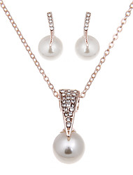 cheap -Women's Jewelry Set Pendant Necklace Necklace / Earrings Drop Fashion Bridal Pearl Imitation Pearl Rhinestone Earrings Jewelry Golden For Wedding Party Daily Casual Work