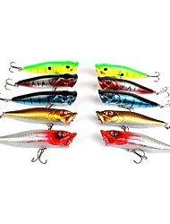 cheap -10 pcs Fishing Lures Hard Bait Minnow Popper Floating Bass Trout Pike Sea Fishing Bait Casting Ice Fishing Hard Plastic Stainless Steel / Iron / Spinning / Jigging Fishing / Freshwater Fishing