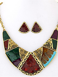 cheap -Women's Jewelry Set Stud Earrings Necklace / Earrings Geometrical Artisan Statement Ladies Vintage European Fashion Color Block Earrings Jewelry Rainbow For Party Daily Casual
