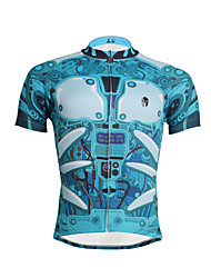 cheap -ILPALADINO Men's Short Sleeve Cycling Jersey Polyester Sky Blue Bike Jersey Top Road Bike Cycling Breathable Quick Dry Ultraviolet Resistant Sports Clothing Apparel / Stretchy / Back Pocket