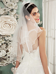 cheap -Two-tier Lace Applique Edge Wedding Veil Shoulder Veils with Embroidery Tulle / Angel cut / Waterfall