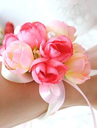 abordables -Fleurs de mariage Petit bouquet de fleurs au poignet / Déco de Mariage Unique Occasion spéciale / Fête / Soirée Perle / Satin / Coton 0-20cm