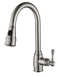 cheap -Kitchen faucet - Single Handle One Hole Nickel Brushed Pull-out / ­Pull-down Vessel Contemporary / Brass