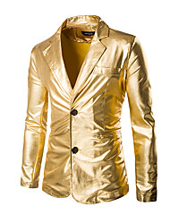 cheap -Men's Party / Holiday / Club Sophisticated / Exaggerated Regular Blazer, Solid Colored Long Sleeve Cotton / Polyester Gold / Black / Silver / Slim