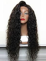 cheap -Synthetic Lace Front Wig Curly Curly Lace Front Wig Long Light Brown Dark Brown Medium Brown Jet Black Black Synthetic Hair Women's Natural Hairline Side Part African American Wig Black