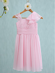 cheap -Sheath / Column Straps Knee Length Chiffon Junior Bridesmaid Dress with Side Draping / Ruffles / Natural
