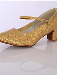 cheap -Women's Dance Shoes Sparkling Glitter / Satin Latin Shoes/Character Shoes Sparkling Glitter Heel Chunky Heel Customizable Silver / Golden / Indoor