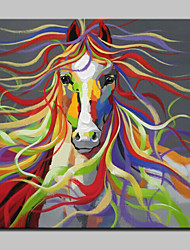 cheap -Oil Painting Hand Painted - Animals Modern With Stretched Frame / Stretched Canvas