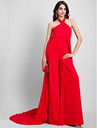 cheap -Jumpsuits Sheath / Column Celebrity Style Formal Evening Valentine's Day Dress Halter Neck Sleeveless Court Train Chiffon with Pleats 2020