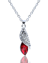 cheap -Women's Cubic Zirconia Pendant Necklace Drop Ladies Simple Sweet Crystal Alloy Red Blue Light Green Necklace Jewelry For Evening Party Going out